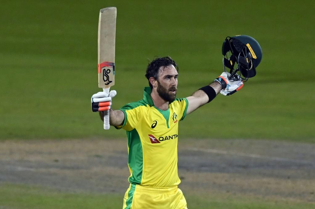 Glenn Maxwell celebrates his century during Australia's series-winning victory in the third one-day international at Old Trafford