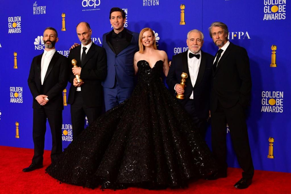 "The cast of HBO drama ""Succession"" are seen here at the Golden Globes in January 2020, when the show took home honors for best drama and another for best lead drama actor for Brian Cox (2nd from right) -- they are hoping to do the same at the Emmys"