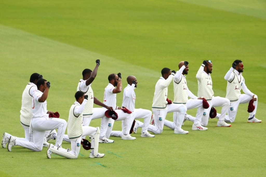West Indies players take a knee at Old Trafford