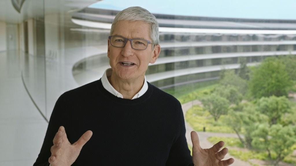 Apple CEO Tim Cook (pictured September 15, 2020 in an Apple Inc handout image) said that wildfires raging on the US West Coast, hurricanes slamming the South, and flooding in the Northeast and Mid-Atlantic make a compelling case for climate change