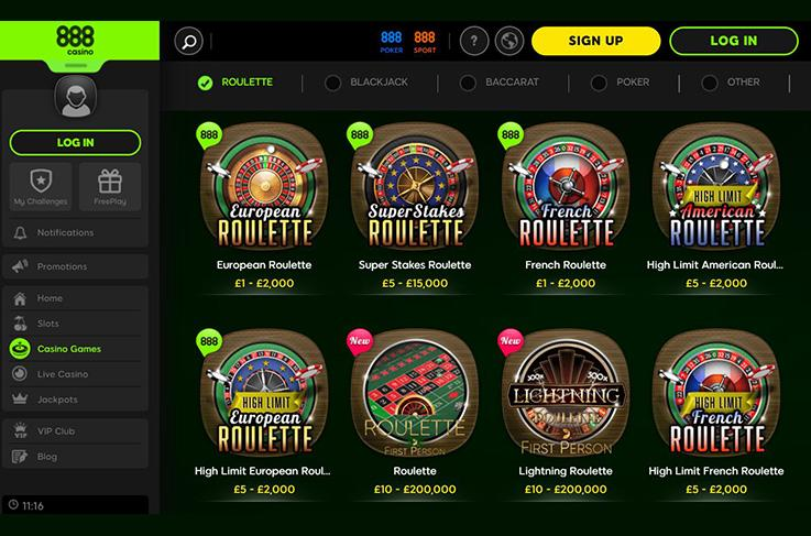 The roulette games at 888casino