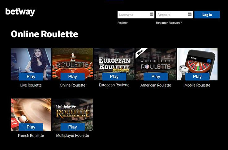 The roulette games at Betway