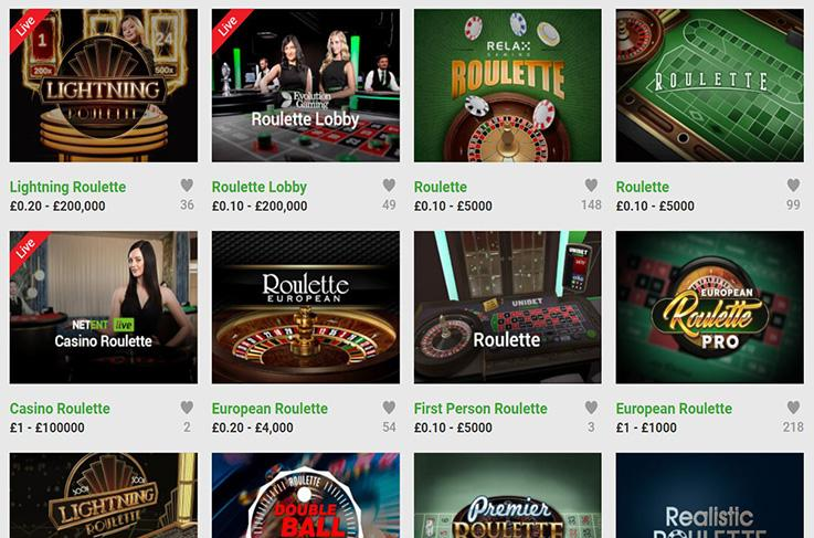 The roulette games at Unibet
