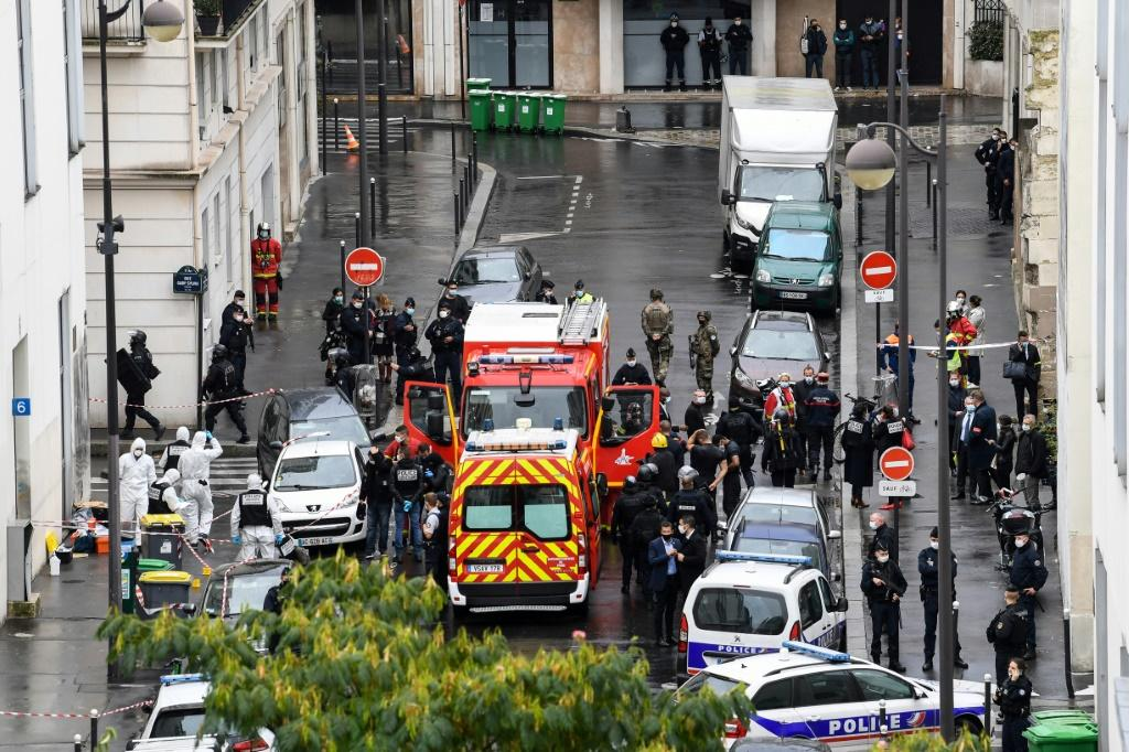 The attack occurred near Charlie Hebdo's former offices in the French capital's 11th district.