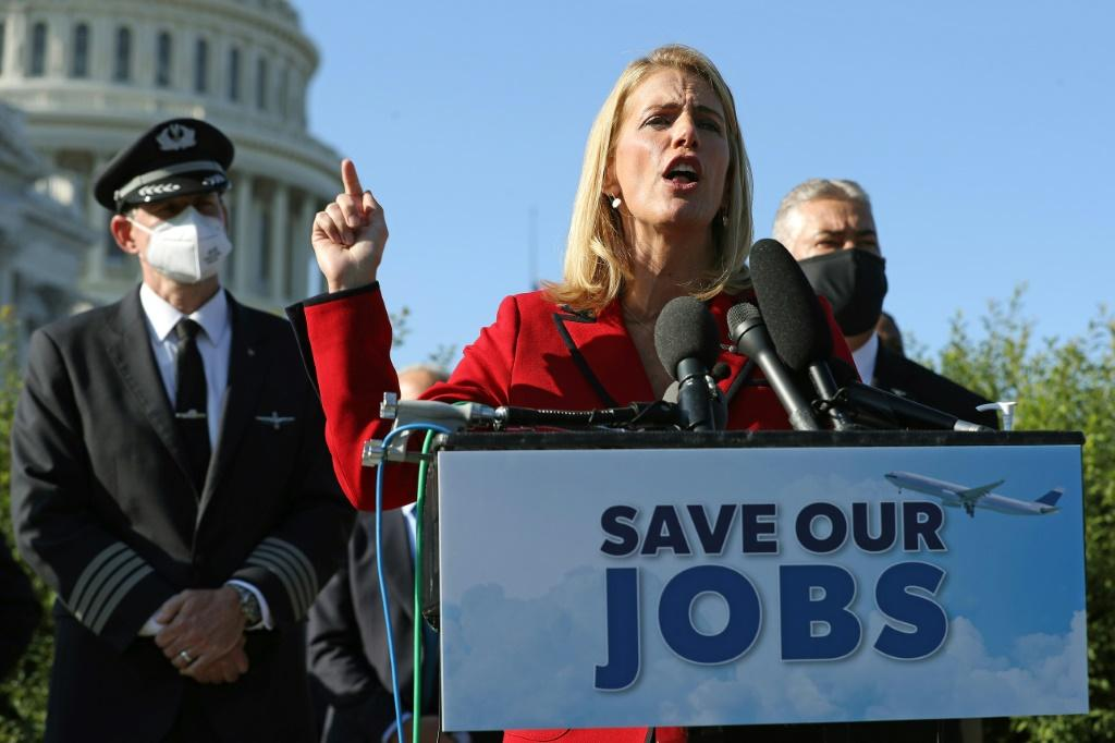 Association of Flight Attendants International President Sara Nelson in Washington to call for another federal relief package in September 2020
