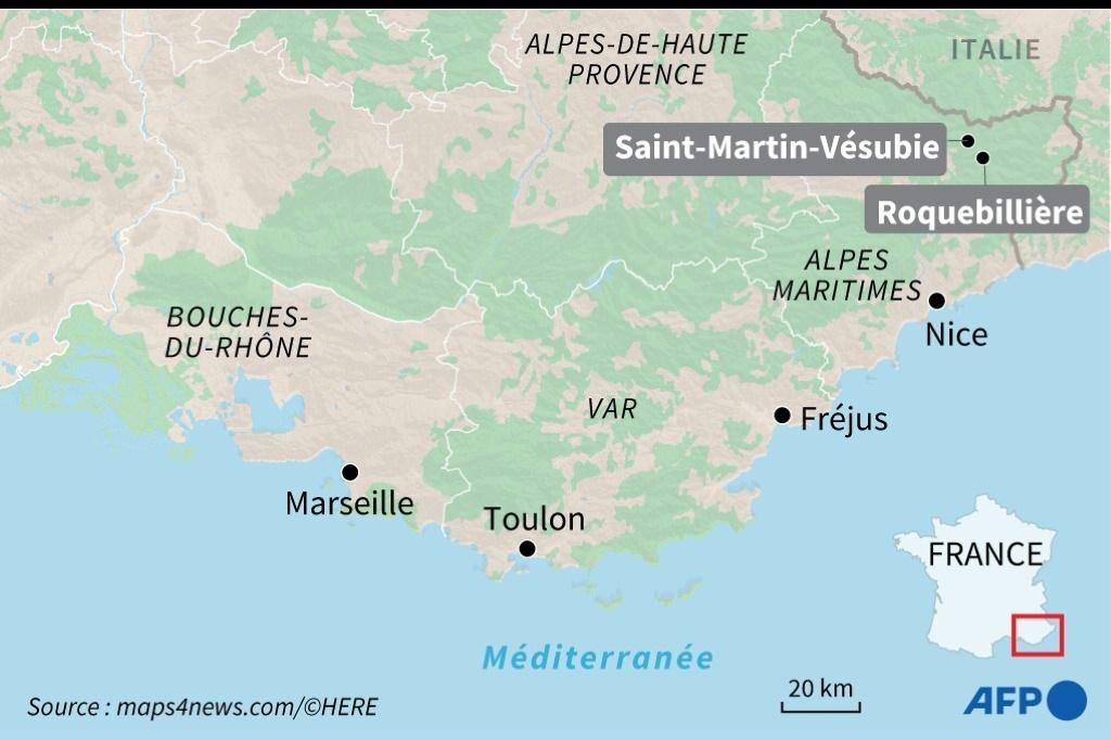 Map showing southern France, and the border area with Italy -- several villages were cut off in both countries as rescuers searched for some 20 missing