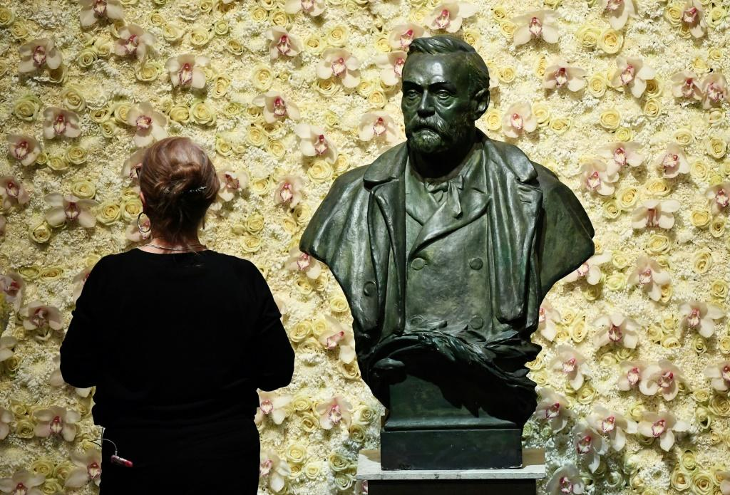 Perhaps appropriately, given the current pandemic, the medicine prize kicks off the Nobel season -- seen is a bust of prize founder and Swedish inventor and scholar Alfred Nobel