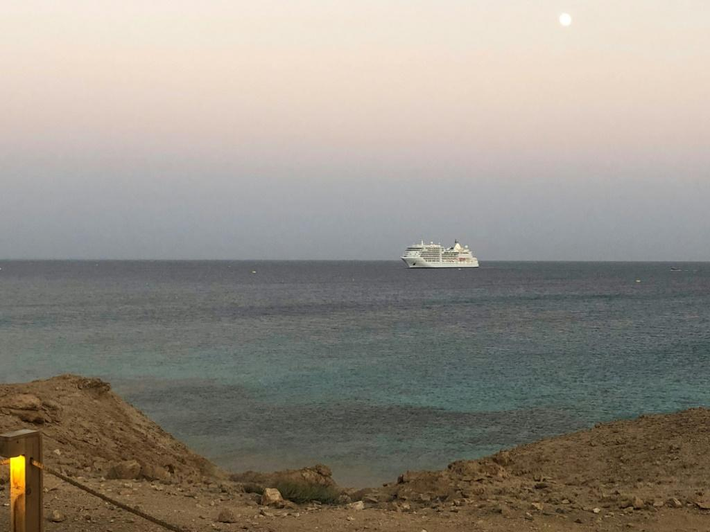 The Silver Spirit cruise ship is pictured anchored off Sindala, one of two islands which form Saudi's planned NEOM megaproject