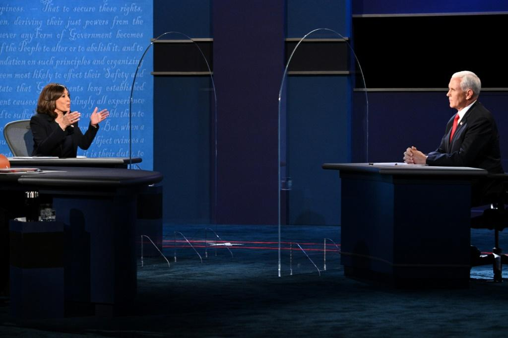 US Democratic vice presidential nominee Kamala Harris and US Vice President Mike Pence debated with a barrier between them
