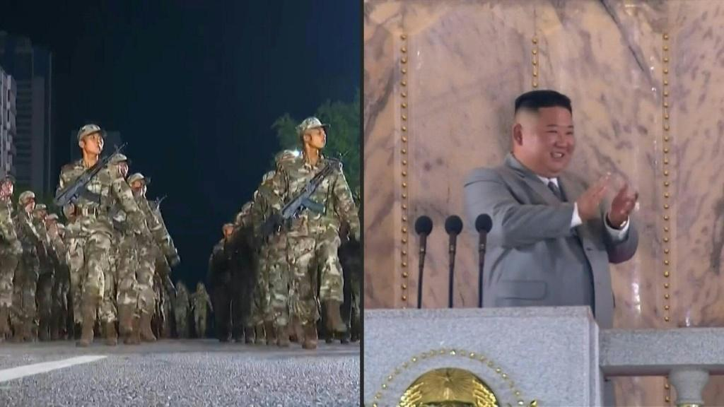IMAGESNuclear-armed North Korea holds a giant military parade attended by leader Kim Jong Un, with thousands of maskless troops defying the coronavirus threat. The widely anticipated display, aired on state broadcaster KCTV, is part of commemorations of t