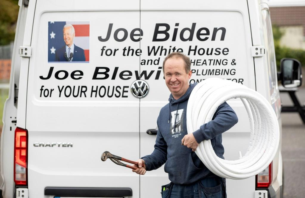 Biden's distant cousin Joe Blewitt has been harrassed by someone with a US accent after drawing attention to the relationship on his work van