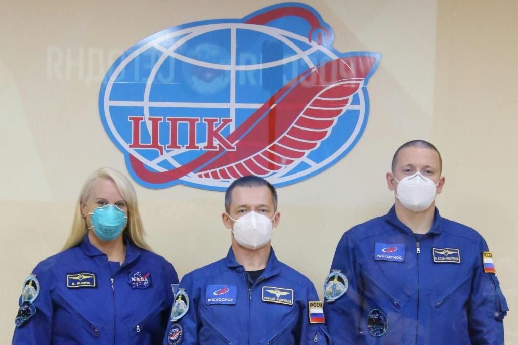 The International Space Station crew of NASA astronaut Kate Rubins and Russian cosmonauts Sergey Ryzhikov and Sergey Kud-Sverchkov