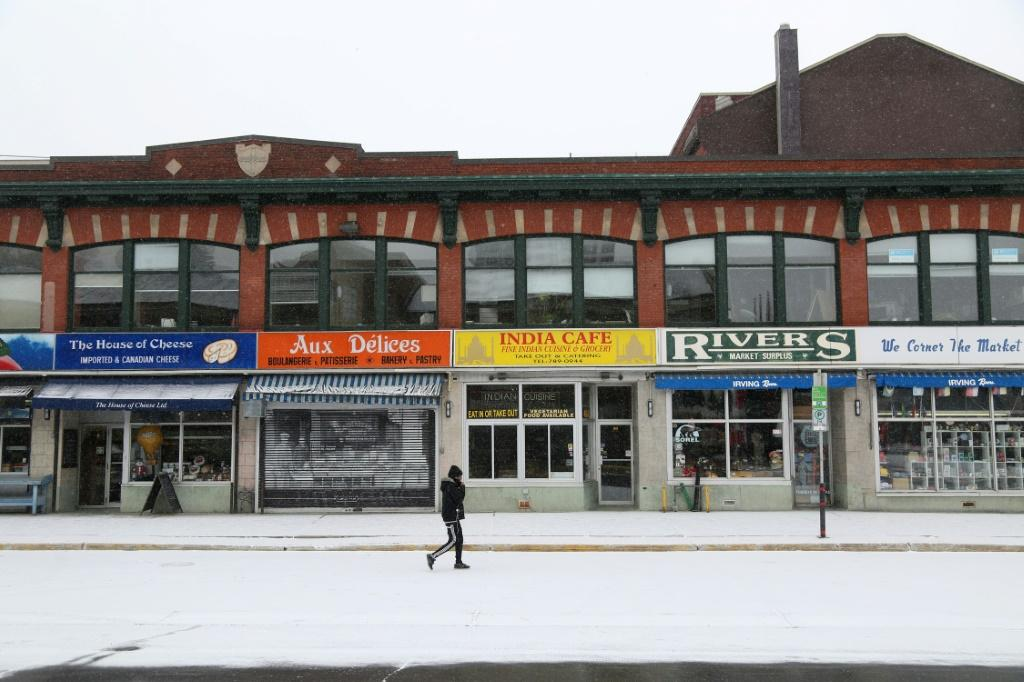 Closed shops in Byward Market, Ottawa -- Canadian company Shopify is challenging Amazon as an option for outlets going online due to Covid-19