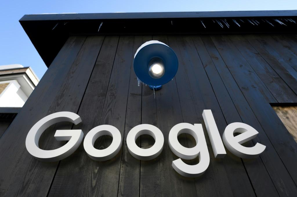 A Google logo is seen on the brand's stand ahead of the annual meeting of the World Economic Forum (WEF) in Davos, on January 20, 2020