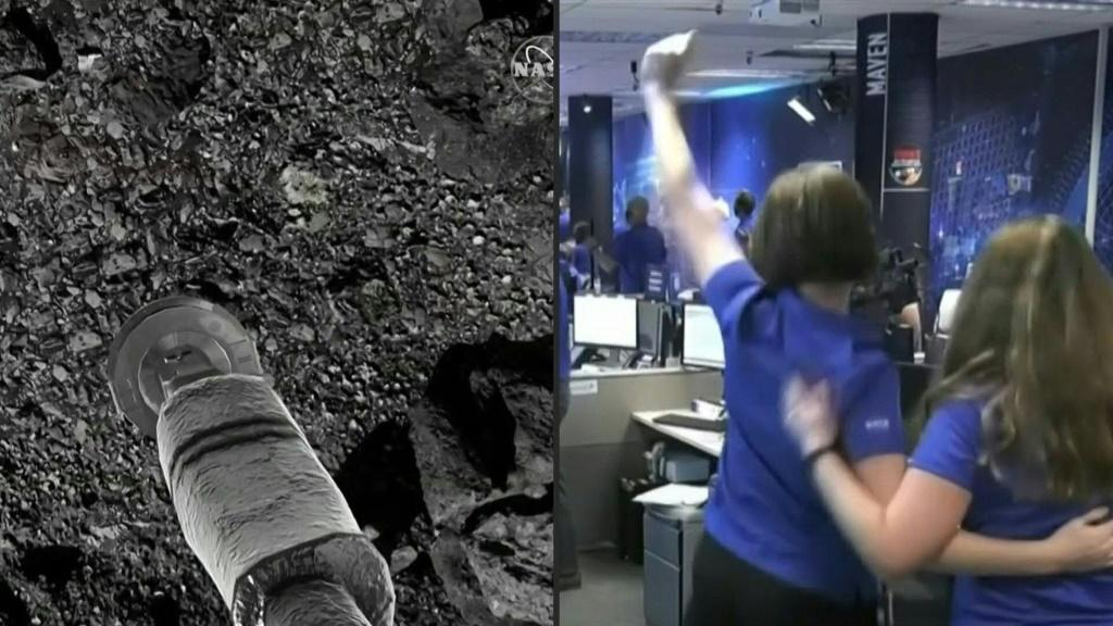 "Scientists celebrate as NASA's robotic spacecraft Osiris-Rex briefly touches down on asteroid Bennu to collect samples. ""The spacecraft did everything it was supposed to do,"" says Dante Lauretta from University of Arizona."