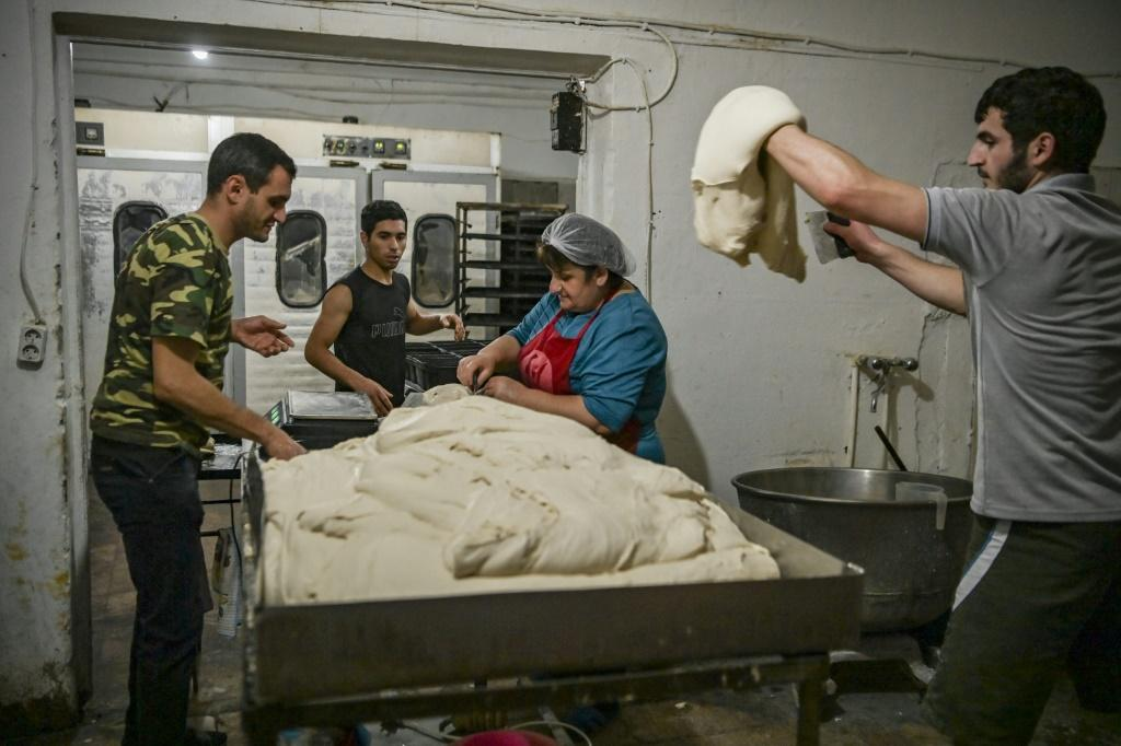 Vast amounts of dough have to be kneaded to produce the free bread handouts