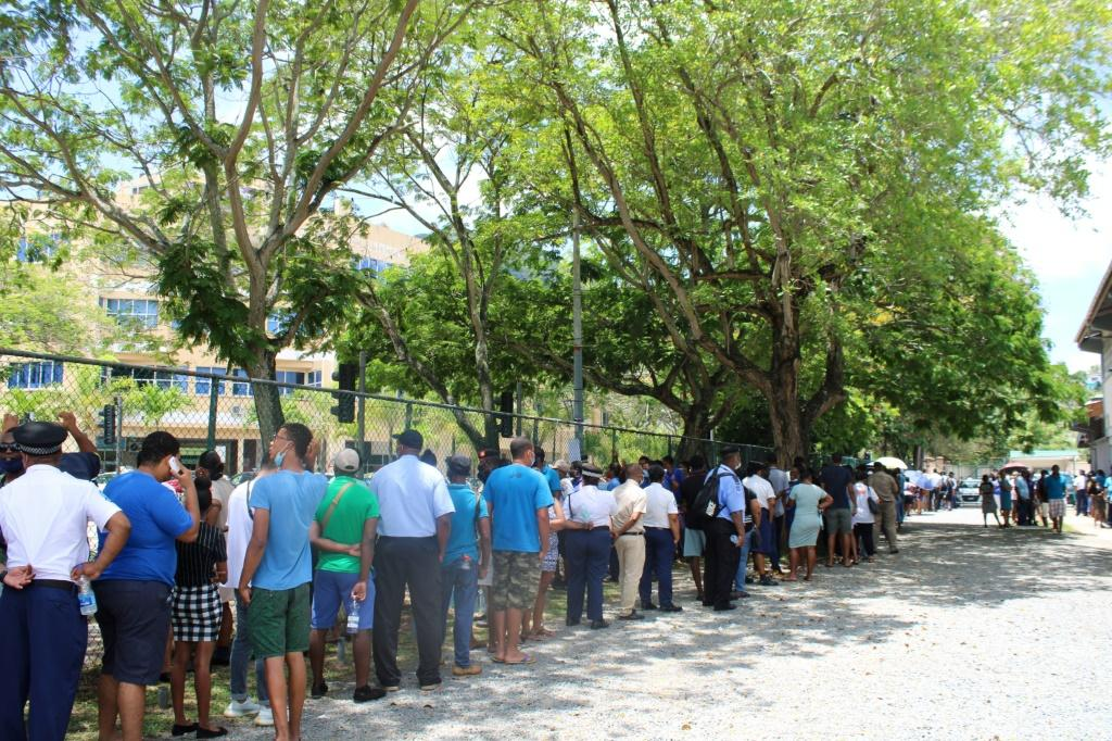 Seychelles voters prepare to cast ballots at the English River polling station in Victoria, kicking off three days of voting