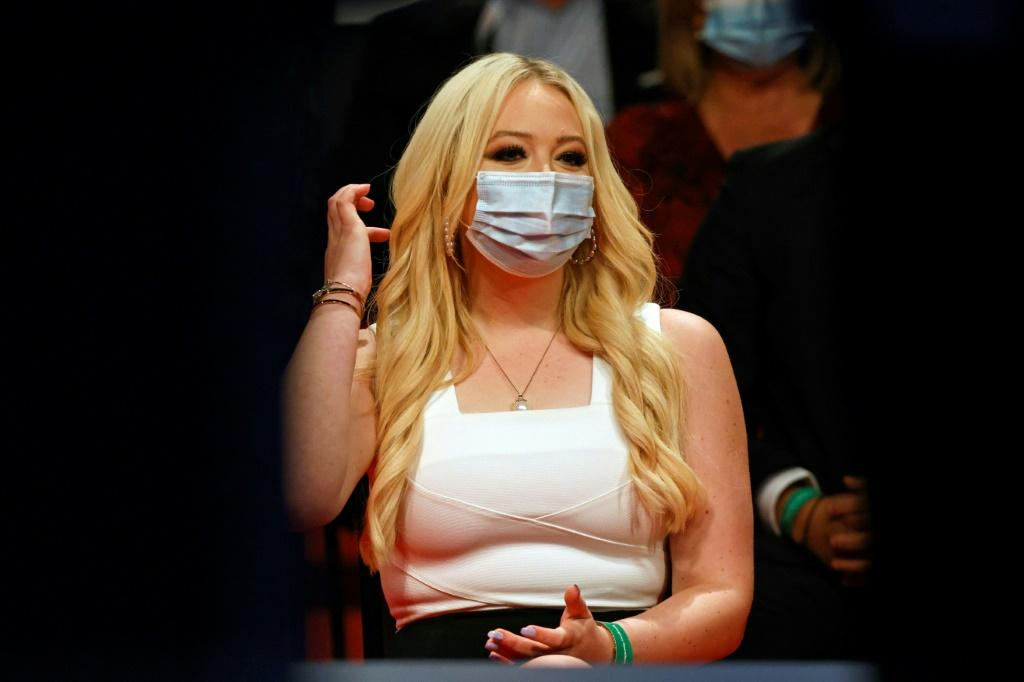 Tiffany Trump, daughter of the US president, sports a mask at the final election debate