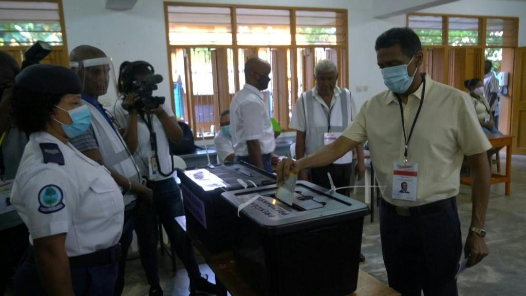 President Danny Faure is the first one to vote as Seychelles polling stations open Saturday