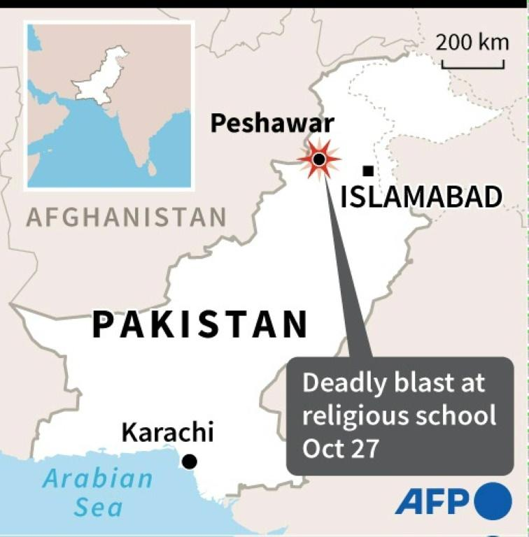 Map of Pakistan locating Peshawar where at least four students were killed and dozens wounded when a bomb exploded during a class at their religious school on Tuesday.