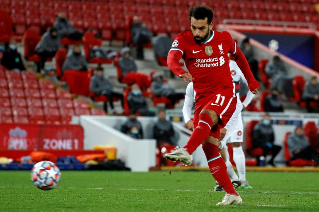Mohamed Salah's late penalty secured a 2-0 win for Liverpool against Midtjylland