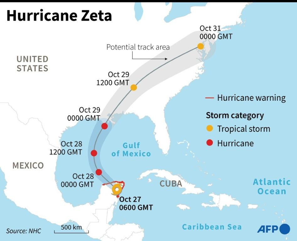 Predicted path of Hurricane Zeta across the Caribbean and the US.