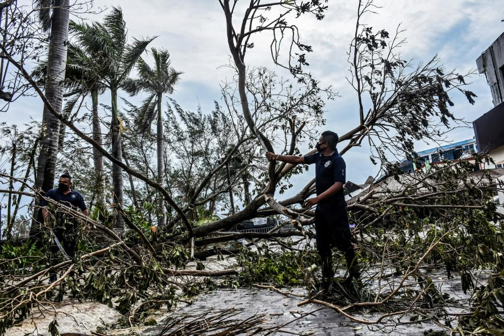 Municipal police remove fallen trees from the streets after the passage of Hurricane Zeta, in Puerto Morelos, Quintana Roo state, Mexico