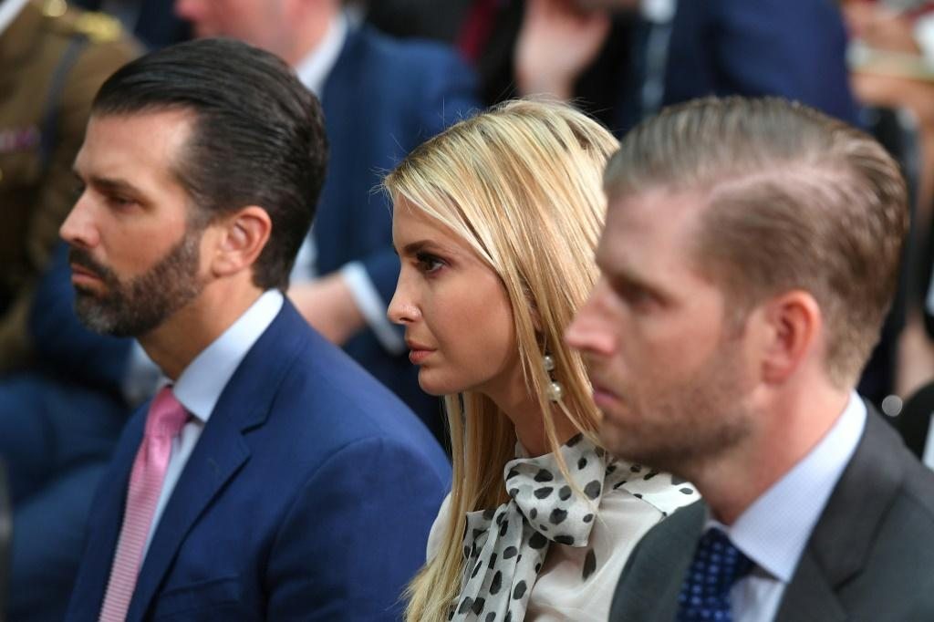 Donald Trump Junior (L), Ivanka Trump and Eric Trump are all closely involved in their father's political and business life