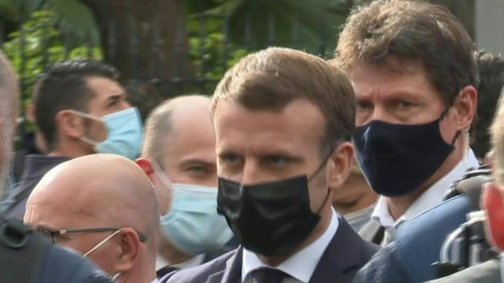 IMAGES French President Emmanuel Macron arrives at the Notre-Dame de Nice basilica after the knife attack that killed three people.