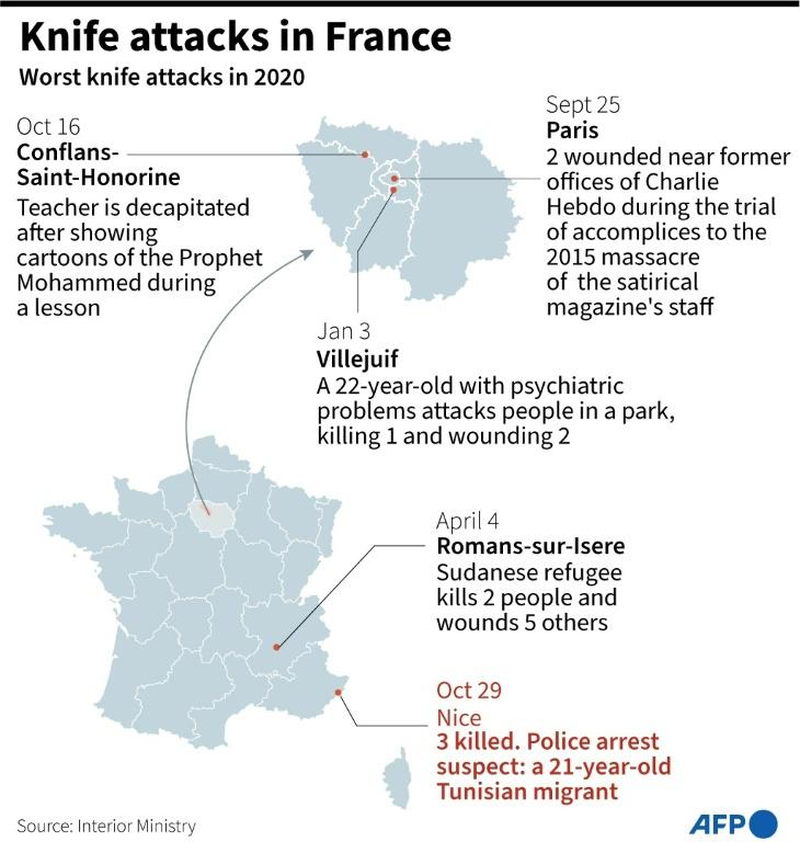 Map of France showing recent knife attacks.