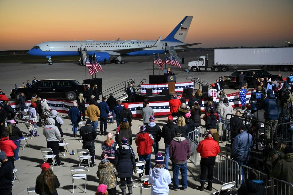 US President Donald Trump and his White House rival Joe Biden each rallied their supporters in Minnesota on October 30, 2020, just four days before the election