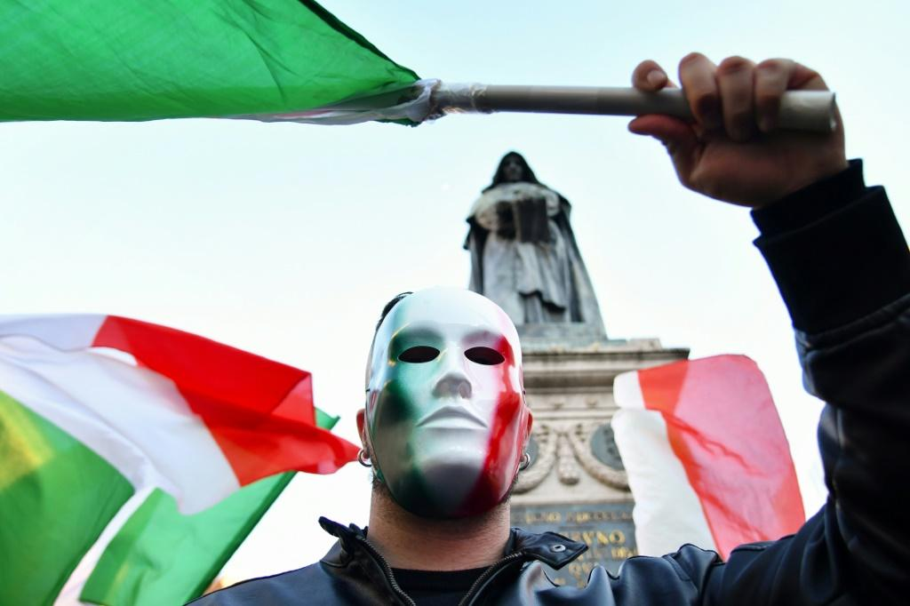 Protests like this one in Rome on October 31 have hit Italy over the past week, some of them turning violent