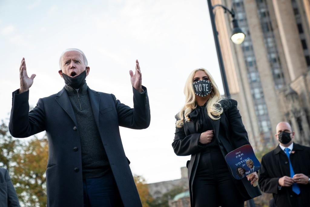 """Lady Gaga, wearing a bejeweled """"VOTE"""" mask, campaigned for Democrat Joe Biden in Pittsburgh on the penultimate day of the 2020 presidential election"""