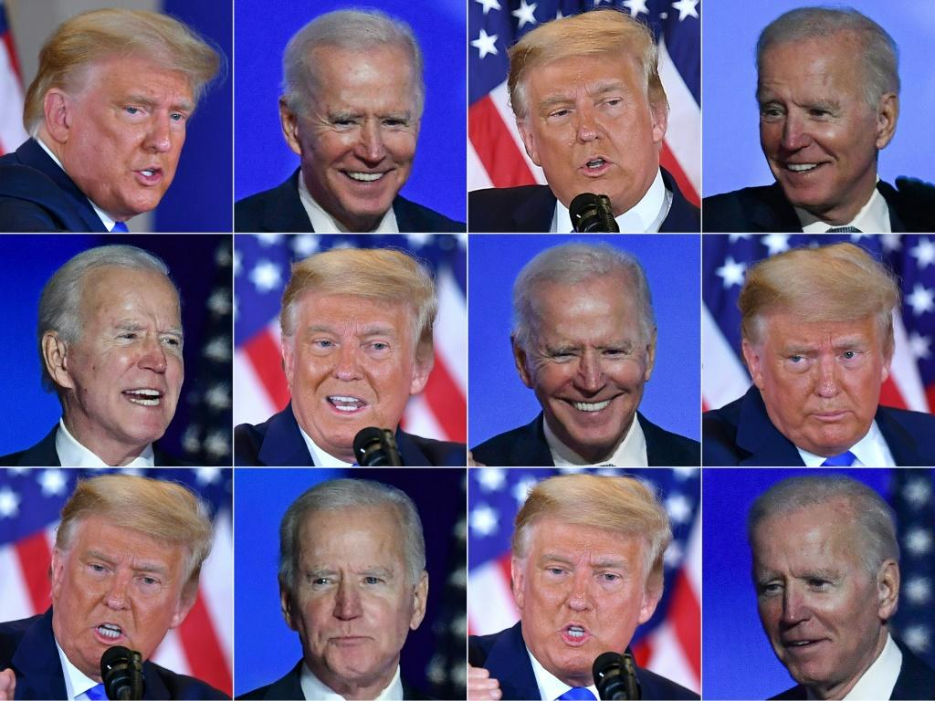 Combination of pictures of Democratic presidential candidate Joe Biden and US President Donald Trump
