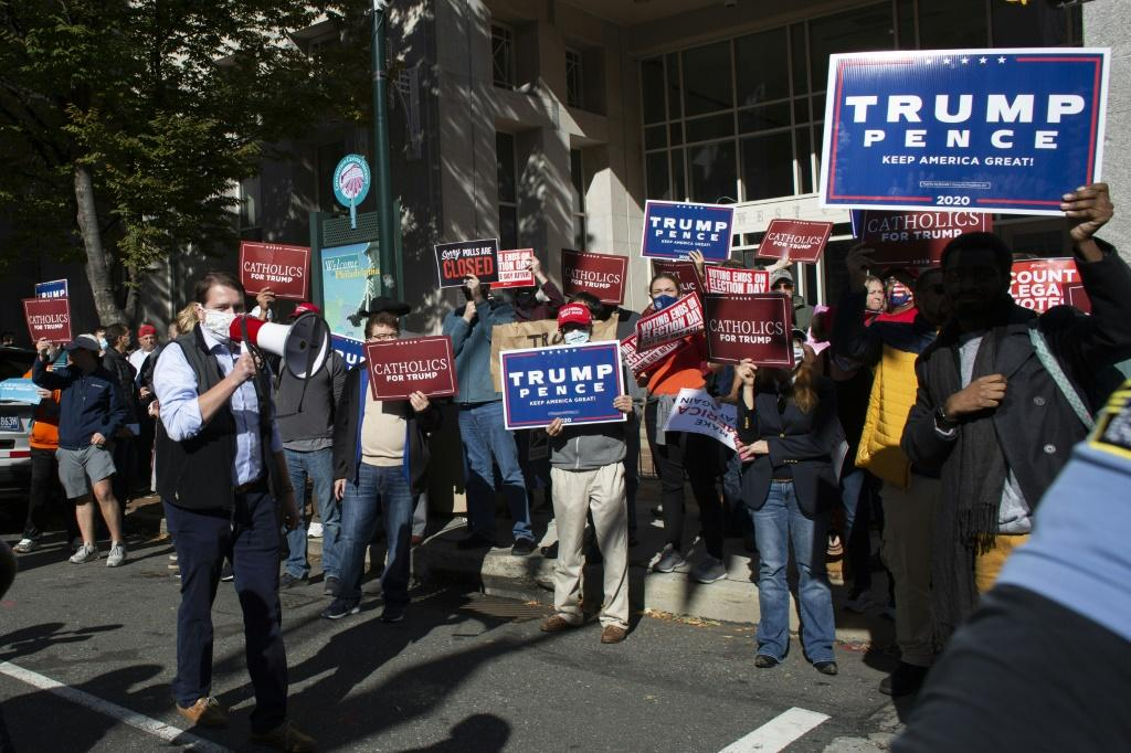 Supporters of US President Donald Trump protest outside the Philadelphia Convention Center