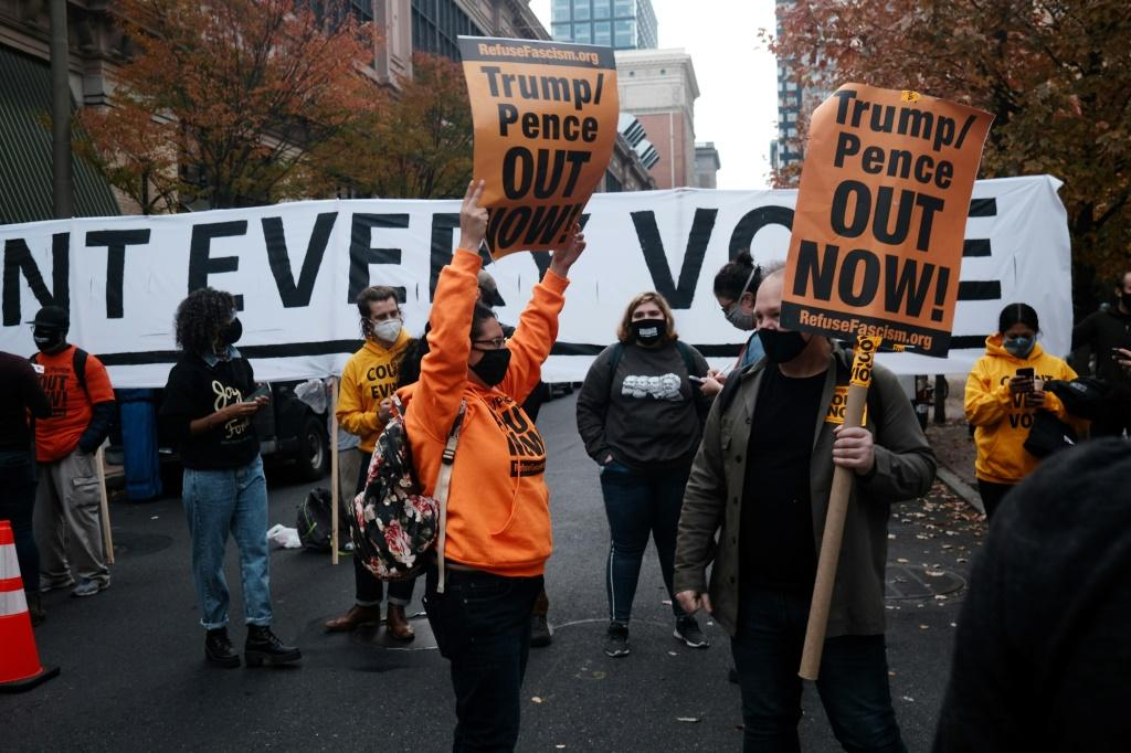 Protesters outside the Philadelphia Convention Center