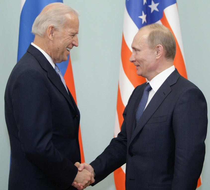 Then US vice president Joe Biden (left) meets in 2011 in Moscow with Russia's now president, Vladimir Putin, who has formed a controversial relationship with US President Donald Trump