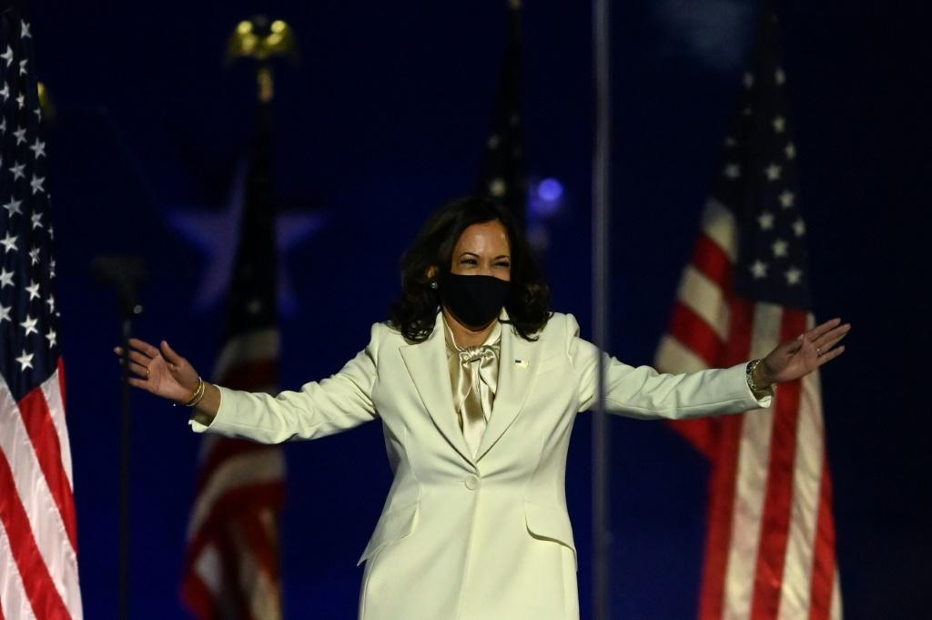 Vice President-elect Kamala Harris arrives to deliver her victory speech in Wilmington, Delaware