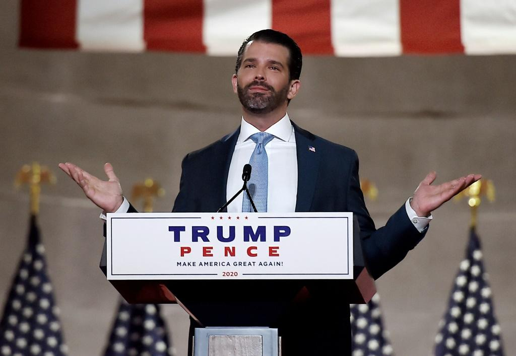Donald Trump Jr. speaking during the first day of the Republican convention in Washington