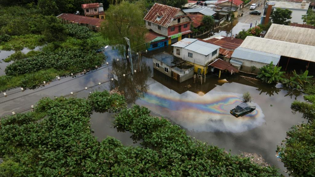 The town of Morales in Guatemala's Izabal Department is seen flooded following the passage of storm Eta on November 7, 2020