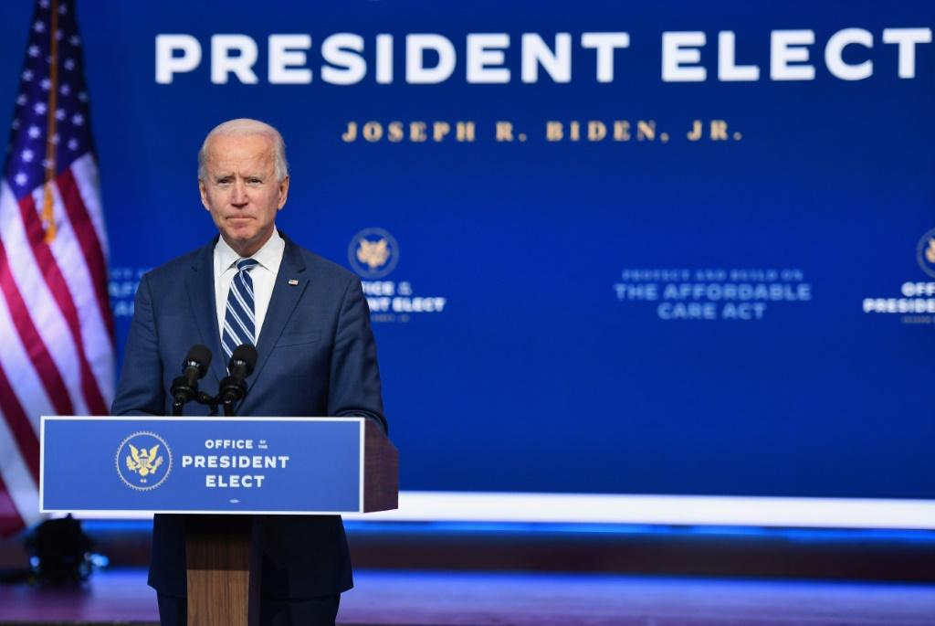 US President-elect Joe Biden speaking in his hometown of Wilmington, Delaware on November 10, 2020