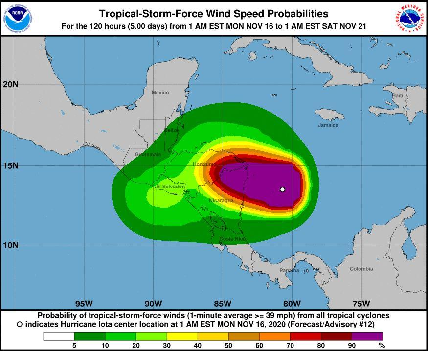 Hurricane Iota recording sustained winds of 155 mph ahead of landfall in Central America.
