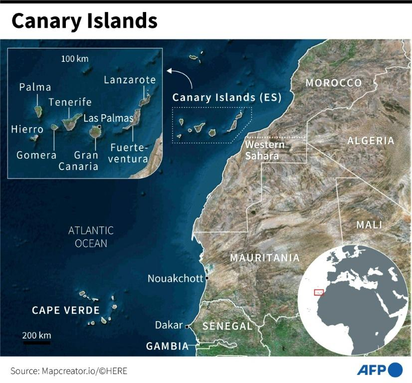 Satellite map of the Canary Islands and the African coast