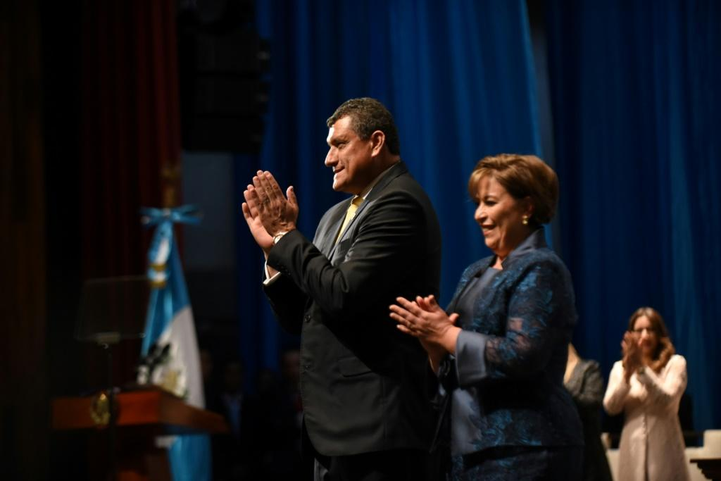 """Guatemalan Vice-President Guillermo Castillo (L)on Friday urged the country's president to resign """"for the good of the country"""