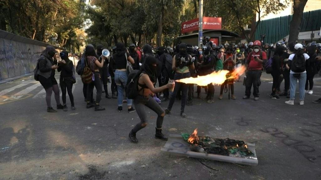 Demonstrators protest violence against women in Mexico