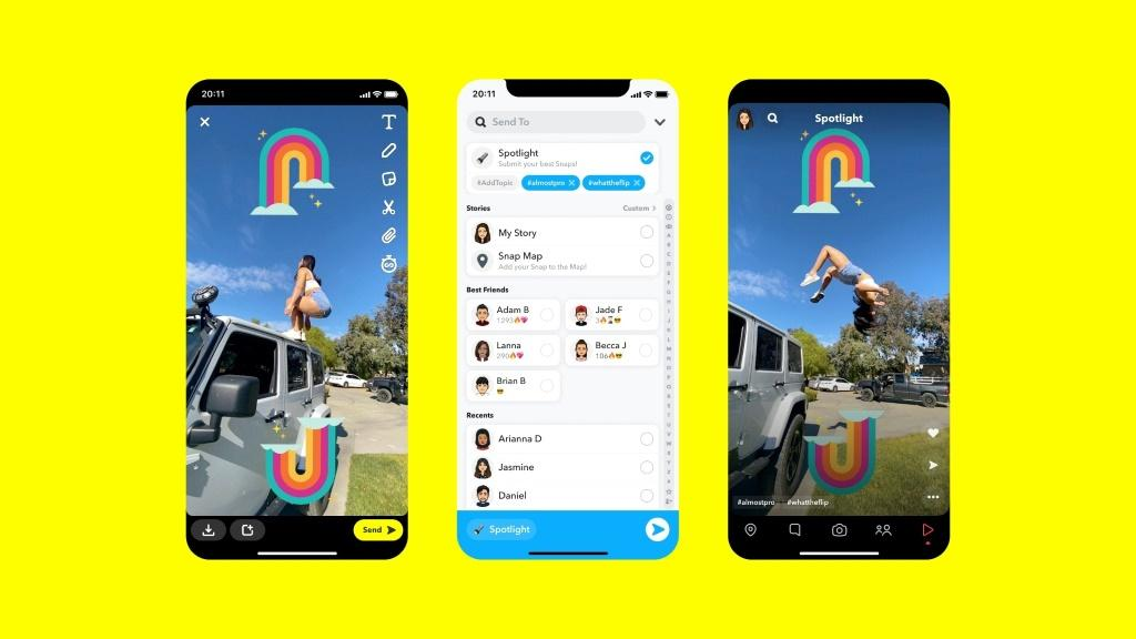 """This handout picture shows Snapchat's latest feature called """"Spotlight,"""" a new curated short-form video feed in a stepped up challenge to social media rivals like TikTok"""