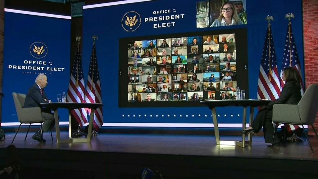 IMAGES US President-elect Joe Biden holds a virtual meeting with mayors of American cities at The Queen theater in Wilmington, Delaware.