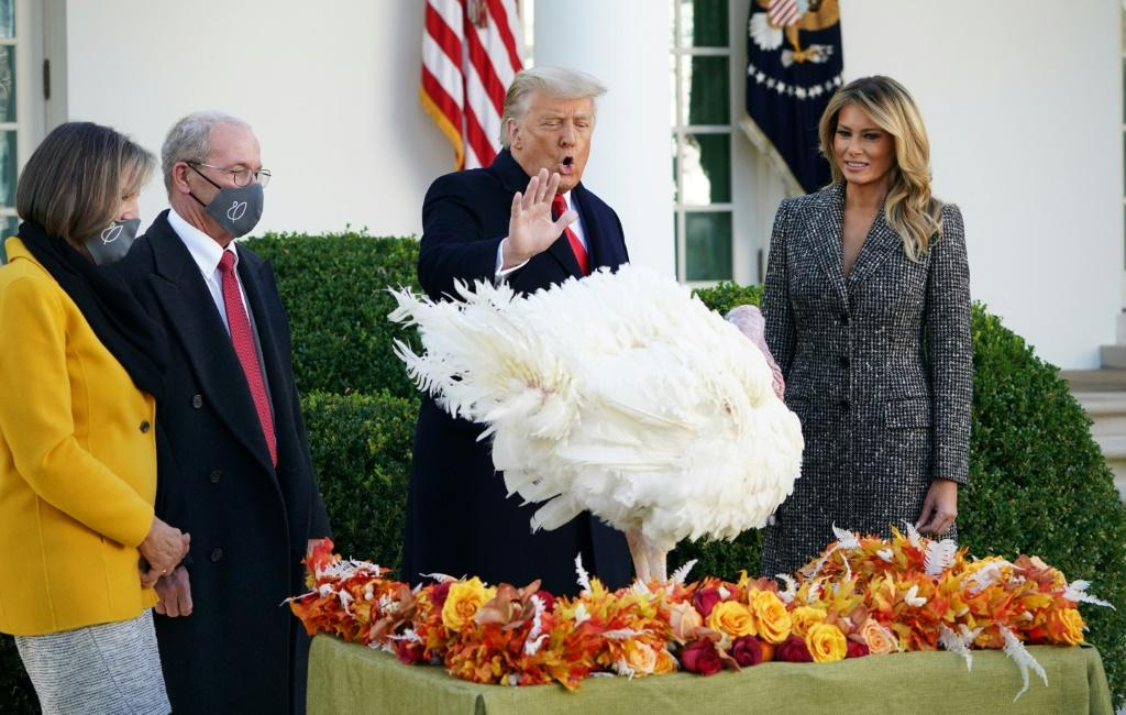 US President Donald Trump pardons a Thanksgiving turkey at the White House