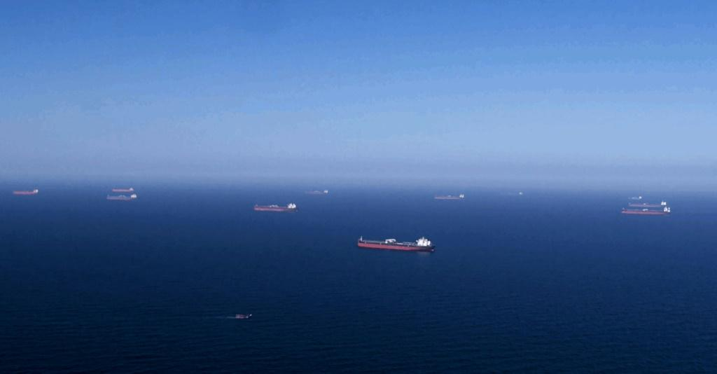 A photo provided by Saudi Aramco on April 1, 2020, shows Aramco tankers being loaded with oil at an undisclosed sea location. An explosion rocked a Greek-operated tanker docked at Saudi Arabia's Red Sea port of Shuqaiq Wednesday, Greek officials said