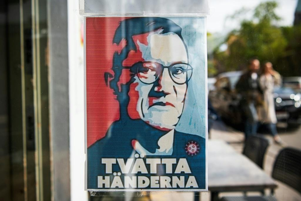 A poster with a portrait of Anders Tegnell, the face of the country's response to the novel coronavirus COVID-19